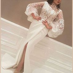 Yousef Designer High Slits Evening Dresses Mermaid High Neck 3/4 Sleeves Lace Body Pleated Skirt Formal Gowns 2017 Real Image