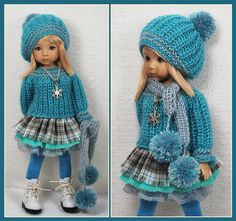 """Turquoise Gray Outfit for Little Darlings Effner 13"""" by Maggie Kate Create 