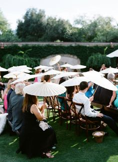 use umbrellas at the wedding ceremony #ceremony #wedding  http://www.weddingchicks.com/2013/11/12/wine-country-wedding/
