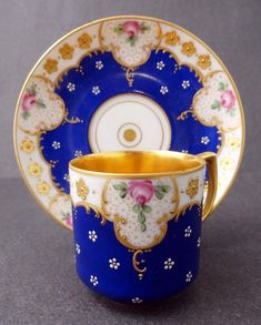 Antique porcelain cup and saucer set by Dresden, Germany