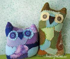 Scrap fabric owls