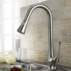 Peko Stainless Steel Pull-Down Spray Kitchen Faucet