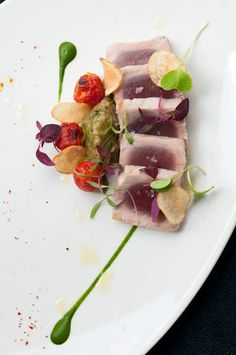 Grilled Tuna and Eggplant with Golden Raisins, Garlic, and Onions by Chef Franklin Becker of Abe & Arthur's - New York, NY
