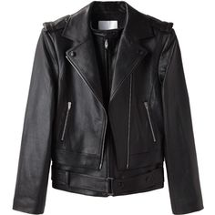 Alexander Wang Layered Motorcycle Jacket (1 160 AUD) ❤ liked on Polyvore featuring outerwear, jackets, coats, tops, alexander wang, lambskin leather jacket, lamb leather jacket, rider jacket and moto jacket