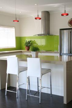 Lime Green accent kitchen splashback. Glass shown by Artform.