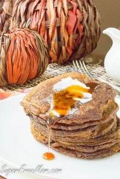 These Grain Free Sugar-Free Pumpkin Pancakes are a perfect fall breakfast that even your teen can make! They're low carb, gluten free and have no added sugars! Fall Breakfast, Low Carb Breakfast, Breakfast Recipes, Breakfast Ideas, Pumpkin Breakfast, Breakfast Time, Sugar Free Recipes, Low Carb Recipes, Cooking Recipes