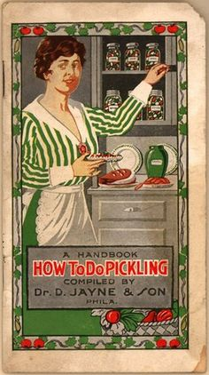 As far as advertising cookbooks go, this one is unique in how it handles the ads. In fact, the pickling recipes are printed in their entirety without any ads. Instead, the ads are inserted on every other page, featuring information on maladies and how Dr. D. Jayne's Family Medicines can help treat them.