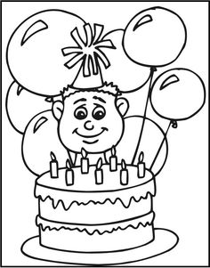 For Children Who Adore Birthdays This Free Coloring Sheet Activity Of A Seven Year Old With His Cake Is Great Option