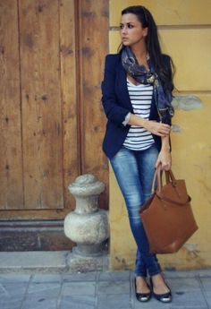 great Italy outfit; love the blazer and navy stripe