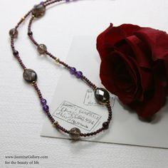 "Winter Memory Garnet, Smoky Quartz and Amethyst Necklace, 29"""
