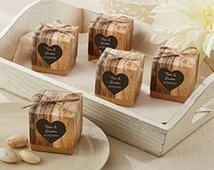 hearts in love, rustic party favor boxes. set of 24