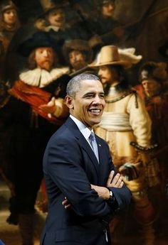 "March 2014. First time in The Netherlands. President Barack Obama in front of the famous painting ""De Nachtwacht"" while he was visiting the Rijksmuseum, Amsterdam, just a few hours before he went to the Nuclear Summit in The Hague."