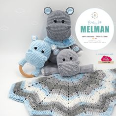 amigurumi free pattern New Free Pattern! Amigurumi Melman's Baby Kit: Hippo Melman - Teether / Rattle - Baby Blanket, available in our website /// Nuevo Patrn Gratuito! Crochet Hippo, Crochet Lovey, Crochet Patterns Amigurumi, Amigurumi Doll, Crochet Dolls, Free Crochet, Crochet Edgings, Crochet Motif, Crochet Shawl