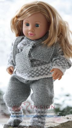 Knit lovley Norwegian heritage baby born doll clothes; Fana sweater