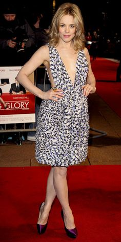 McAdams walked the Morning Glory red carpet in London sporting a plunging Suno suspender dress with purple pumps and a Pippa Small rough cut pyrite ring.