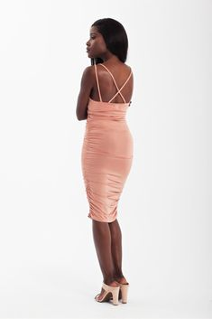 Sexy ruched strappy mini bodycon dress in nude copper Sexy Party Dress, Sexy Dresses, Party Playlist, Nude Color, Cami, Copper, Bodycon Dress, Culture, Inspired