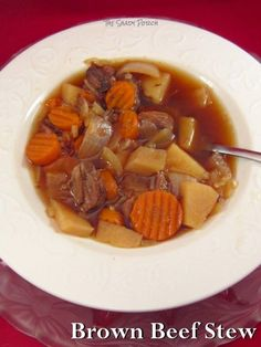 Brown Beef Stew...hearty and wholesome...recipe has both Stove top or slow cooker preparation #RECIPE #stew #beef