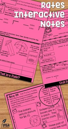 Introduce rates and ratios to your grade middle school students with these engaging interactive notebooks! This notes set includes foldables, activities, and assessments to help your student master Common Core and Texas TEKS curriculum. Teaching 6th Grade, 7th Grade Math, Teaching Tools, Science Notes, Science Lessons, Math Notes, Math Stations, Math Centers, Math Resources