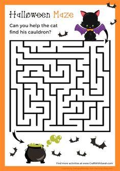 Free Halloween Games, Halloween Puzzles, Halloween Maze, Couples Halloween, Halloween Labels, Halloween Activities For Kids, Halloween Prints, Halloween Donuts, Halloween Parties