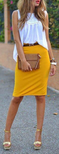 Yellow Plain Zipper Mid-rise Slim Elegant Casual Midi Skirt / Heatonminded... - Street Fashion