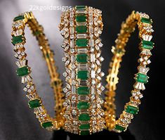 22 Carat gold emerald bangles collection by Navrathan jewellers. emerald bangles gold, latest designs in pachalu bangles, Antique Jewellery Designs, Indian Jewellery Design, Indian Jewelry, Jewelry Design, Handmade Jewellery, Ruby Bangles, Bridal Bangles, Bridal Jewellery, Silver Bracelets