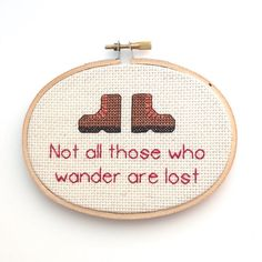 Not All Those Who Wander Are Lost  - Hiking and Lord of the Rings Cross Stitch by BananyaStand on Etsy