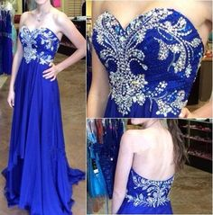 New Design Charming Royal Blue Chiffon Prom Dress,Strapless Empire Waist Prom Dresses, A-Line Long Evening Dress Prom Gown,Party Dress