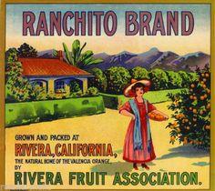 Rivera CA, Ranchito Brand fruit crate label