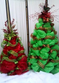 Deco Mesh Christmas Tree, 2013 red and green Deco Mesh Christmas Trees