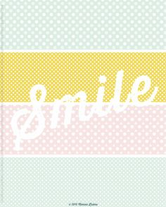 Light Pink Art Print, Smile, Pastel Colours Decor, Dots Pattern, Nursery Art Print, Girl's Room Wall Art, Pastel Colours Art Print