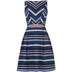OASIS Chevron Stripe Dress ($82) ❤ liked on Polyvore featuring dresses, multi, chevron print dress, chevron dress, blue skater dress, long dresses and summer skater dress