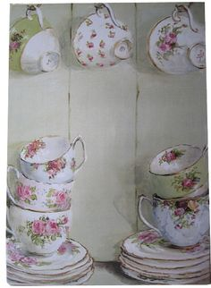 Ready to Hang Print - Vintage China in a Cupboard with hanging cups - POSTAGE is included Australia wide