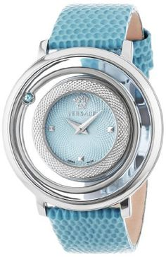 """Versace Women's VFH020013 """"Venus"""" Stainless Steel Topaz-Accented Watch with Leather Band, http://www.amazon.com/dp/B00CPKOKM2/ref=cm_sw_r_pi_awdm_nvPqvb0VDBVW5"""