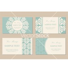 Vintage cards green4 vector - by ARNICA on VectorStock®