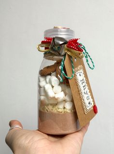 Hot chocolate treat with marshmallows, white choc stars & mini choc chip cookies - Personalised - Great stocking filler, Christmas Eve box by CalonB on Etsy