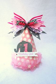 Pink Elephant Circus Party Hat in light pink, hot pink white and gray polka dot. $15.50, via Etsy.