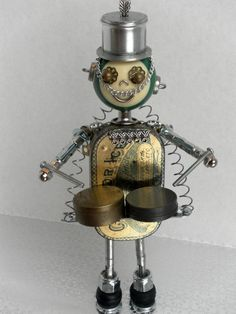Reserved Drummer Band Bot - found object robot
