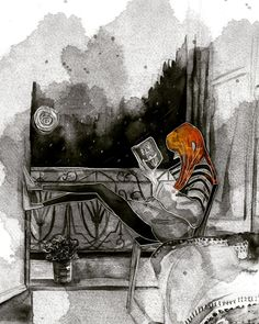 Watercolour Sketch #illustration #Drawing #Sketch #ink #illüstrasyon #watercolour #girl #childbook #childbookillustration #orangehair #hair #art #readingbook