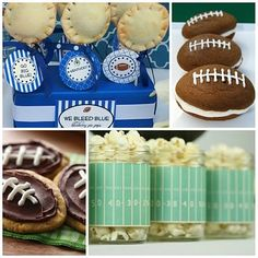 """football themed snacks - omgsh i love these (except for the whole """"we bleed blue"""" thing we can change that to """"we bleed red"""") I <3 football:)"""