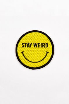 Glamour Kills Mini Happy & Weird Patch - Keep Austin Weird Cute Patches, Pin And Patches, Iron On Patches, Diy Patches, Stay Weird, Merit Badge, Cool Pins, Stickers, Mellow Yellow