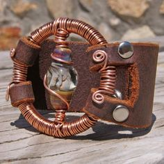 Recycled Leather Cuff with Borosilicate Glass