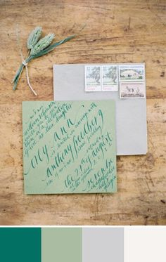 The emerald green against the muted green and grey in this wedding stationery would be a great color palette  for a fall or winter wedding. Source: Neither Snow #colorpalette #emeraldgreen #weddingstationery