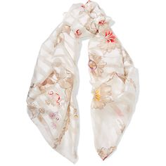 Fendi Printed silk-jacquard scarf (650 CAD) ❤ liked on Polyvore featuring accessories, scarves, white, woven scarves, white silk shawl, white silk scarves, white shawl and print scarves