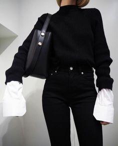 353d7e064405 Black  amp  White -- Oversized Sleeves Fall Fashion