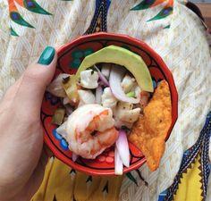 Ceviche de Peixe branco com Camarão e Avocado! Nham Nham! <3