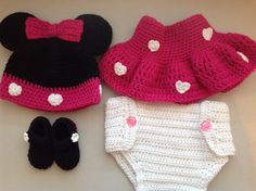 3-6 month 4 pc crocheted baby set. Hat (1) Skirt (1) Diaper cover (1) and Baby booties (1)