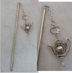 Silver Teapot Charm Hair Stick New Shawl Pin Accessories Jewelry Fashion #Handmade #HairStick