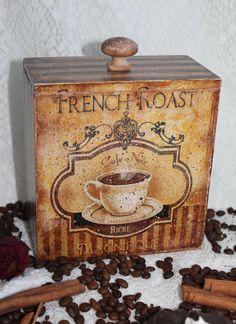 "Декупаж - Сайт любителей декупажа - DCPG.RU | Короб для сыпучих продуктов. № 6 Короб ""Coffee"" #decoupage #art  #handmade"