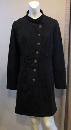 CAbi Black Coat Jacket Large Military Steampunk Victorian Trench Pleated # 695