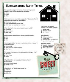 More of my customers have been asking for House Warming Party ideas! Created a f… Sponsored Sponsored More of my customers have been asking for House Warming Party ideas! Created a few new games for this type of gathering. Toddler Party Games, Dinner Party Games, Diy Party Crafts, Craft Party, Housewarming Party Themes, Housewarming Food, Harry Potter Party Games, 30th Birthday Ideas For Women, Trivia Games